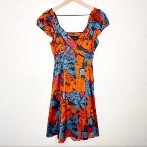 The Limited Red Blue Floral Satin Fit Flare Dress